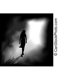 A woman from the darkness meets the bright light.