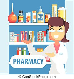 Woman Pharmacist Demonstrating Drug Assortment On The Shelf Of Pharmacy. Cool Colorful Flat Vector Illustration In Stylized Geometric Cartoon Design