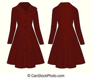 Woman red coat, vector