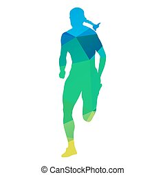 Woman run. Abstract silhouette