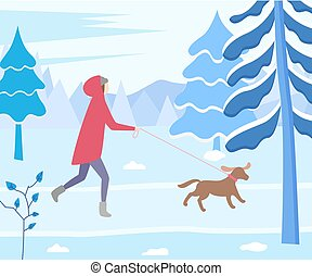 Woman Running with Dog in Winter Forest Vector