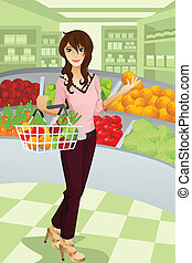 """A vector illustration of a beautiful woman shopping grocery at the supermarket. Part of """"A Day In Life"""" series (see others in my portfolio)"""