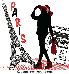 Beautiful woman silhouette on a french background, vector illustration