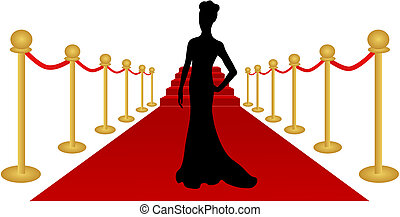 Vector Illustration of the silhouette of a woman posing on a red carpet.