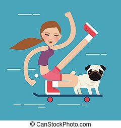 woman skateboarding with dog pet healthy athletic girl have fun