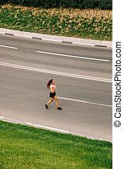Woman Training On Street