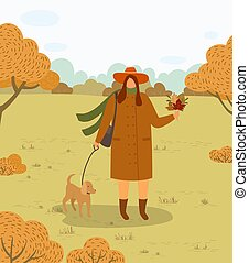 Woman Walking Dog on Leash in Autumn Forest Park