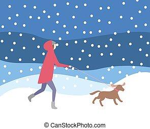 Woman Walking Dog on Leash in Snowfall Wintertime
