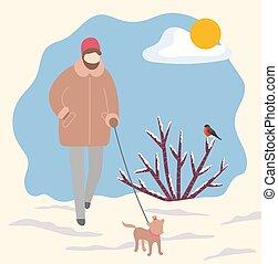 Woman Walking Dog on Leash in Winter Park Vector