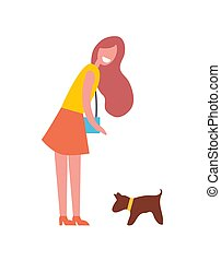 Woman Walking with Dog Pet Vector Illustration