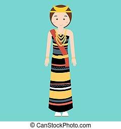 woman wearing traditional clothes nusa tenggara timur NTT indonesia ethnic cloth vector pakaian adat