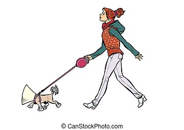 woman with a dog, a dog in a protective collar. Pop art retro vector illustration kitsch vintage