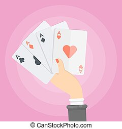Woman with cards.