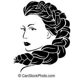 Beautiful woman with fluffy braided plait, vector illustration isolated on the white background