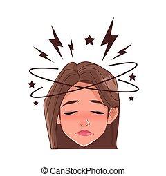 woman with headache stress symptom character