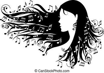 woman with music notes in her hair, vector illustration