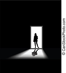 woman enters a dark room, to illustrate concept of unknown and fear
