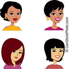 Illustration of cartoon portraits, of women of varied ethnicities.
