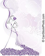 women's silhouette on purple