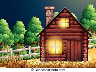 Wood cabin in the woods