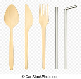 Wood fork, spoon knife and steel straws top view