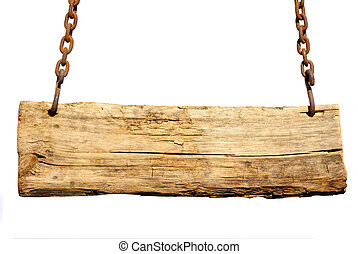 Wood sign, hanging from a chain