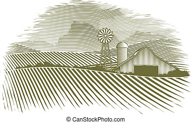 Woodcut illustration of a barn and field.