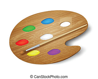 Wooden art palette with paints and brush. Vector