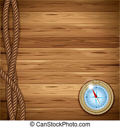 Wooden background with rope and compass