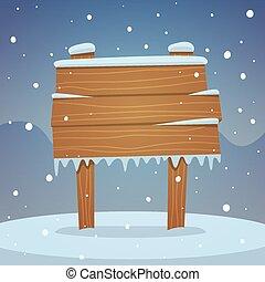 Wooden board in snow