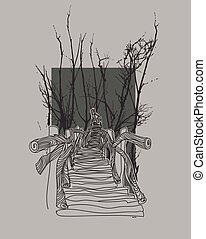 Wooden bridge in the jungle illustration