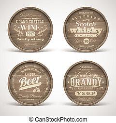 Set of wooden casks with alcohol drinks emblems - vector illustration