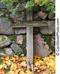 Wooden Cross on a Graveyard