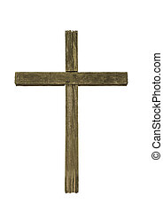 Wooden cross on a white background.