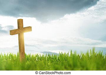Wooden cross on green grass