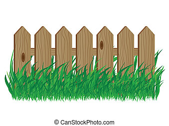 Wooden fence on a white background