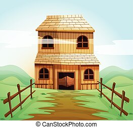 Wooden house in the field