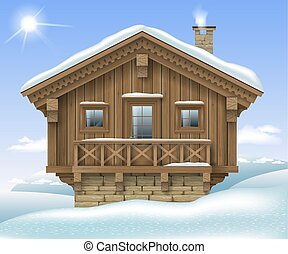 Wooden house in the winter mountains