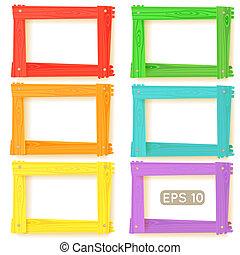 Wooden picture frames color set for your web design