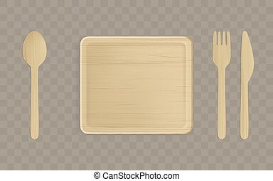 Wooden plate, fork, spoon and knife top view.