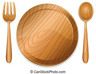 Wooden plate with pair of fork and spoon