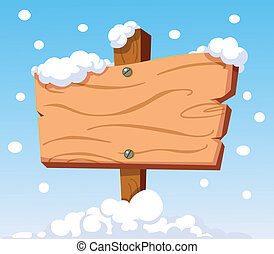 Wooden sign in snow
