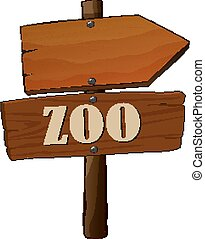 Wooden sign of on white background