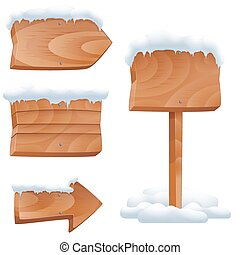 Wooden signs in snow vector set