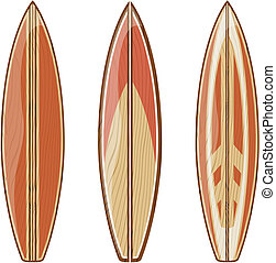 wooden surfboards isolated on white background, vector format very easy to edit, no gradients, only solid colors