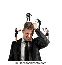 Concept of stress at work with small people shouting with megaphone