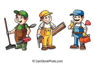 Worker Set : Gardener, Carpenter And Plumber
