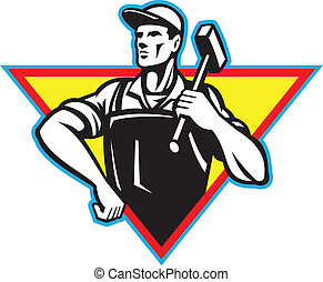 Illustration of a factory worker laborer blacksmith carrying hammer hand on hip viewed from front set inside traingle done in retro style.