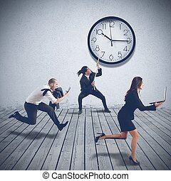 Business people are working at full speed