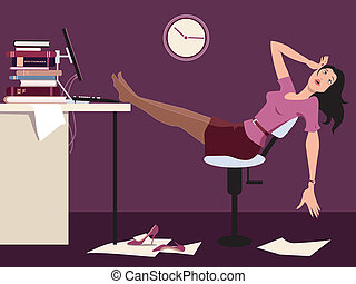 Exhausted woman sitting late in the office with her legs up on a desk, vector illustration